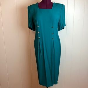 Vintage 80s/90s Green Textured Grunge Shift Dress